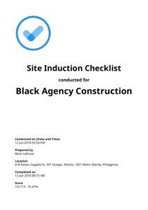 site induction checklist pdf