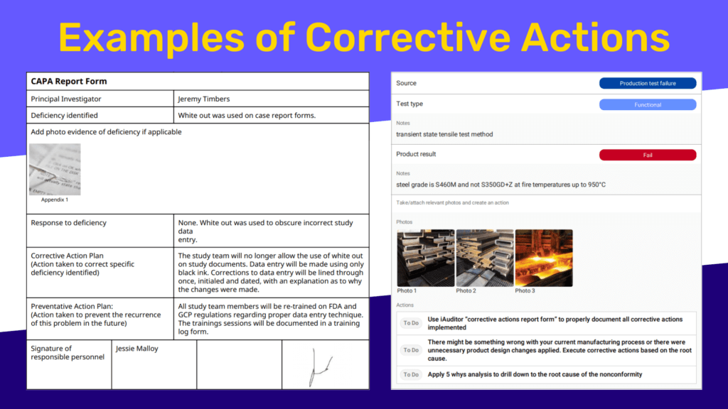 corrective action examples