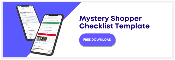 mystery shopper checklist template