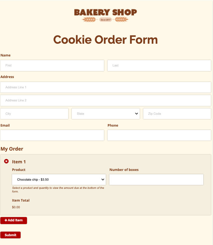 Cognitoforms Order Form Template